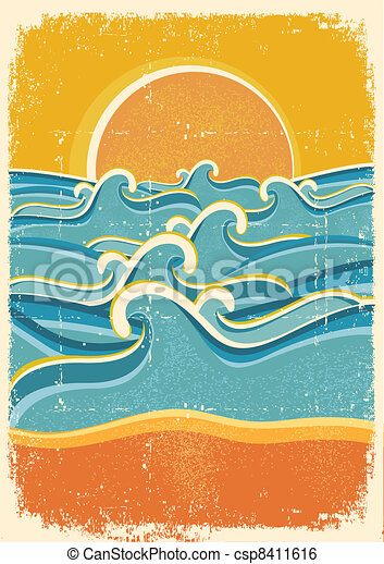 Sea waves and yellow sand beach on old paper texture. - csp8411616