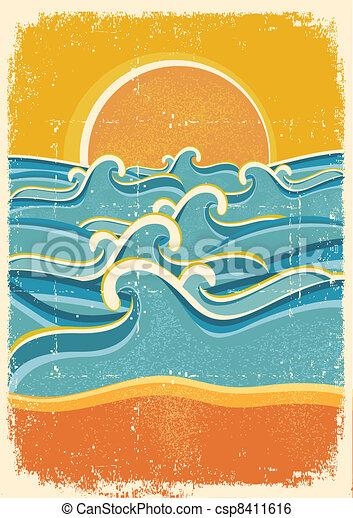 mar, ondas, amarillo, arena, playa, viejo, papel, textura - csp8411616
