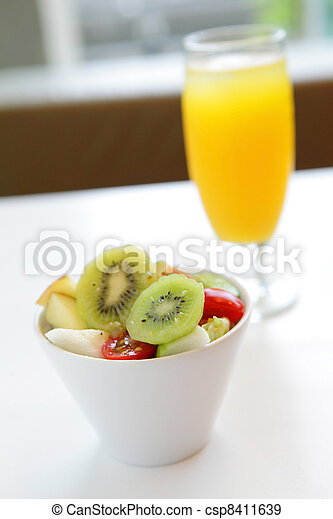 delicious breakfast include fruit and orange juice, good for health - csp8411639