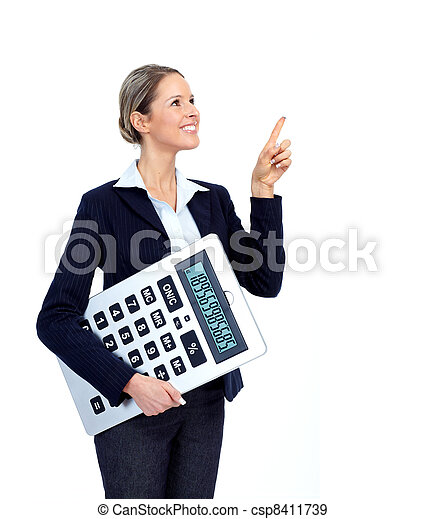 Accountant Business woman with calculator. - csp8411739