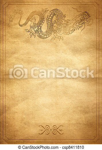 Yellow paper with a painted dragon - csp8411810