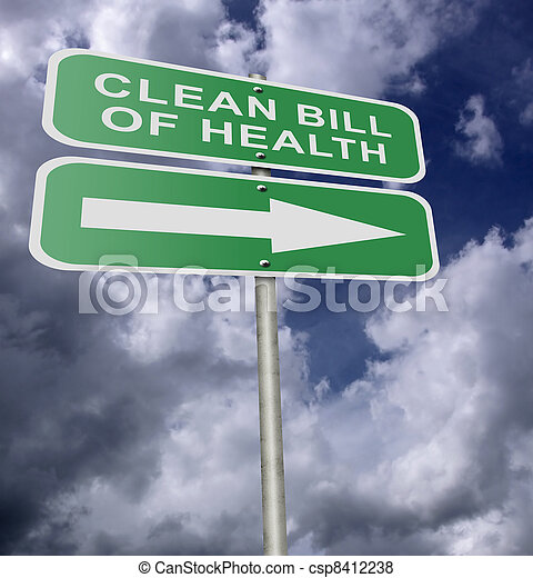 Street Road Sign Clean Bill Of Health - csp8412238