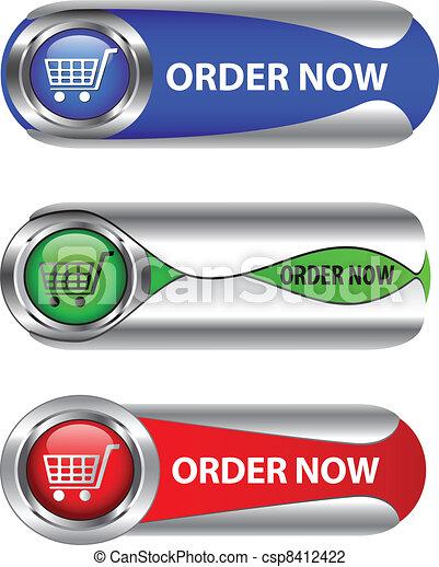 Metallic order now button/icon set - csp8412422