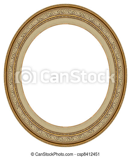 Oval gold picture frame - csp8412451