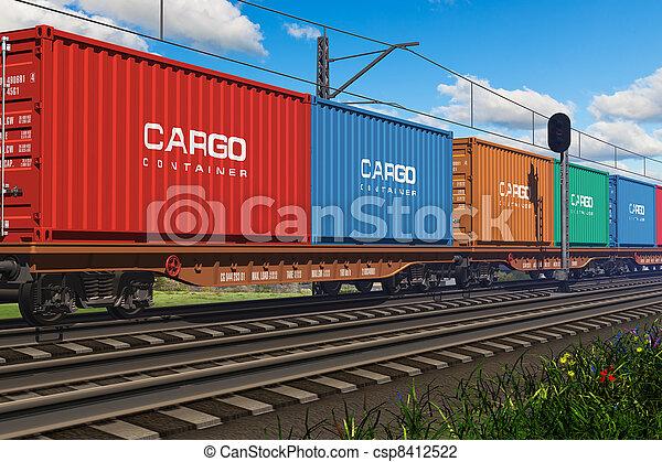 frakt, Tåg, gods, Behållare - csp8412522