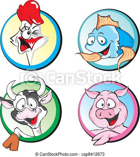 Cow, Pork, Chicken, Fish - csp8412673