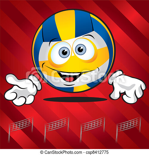 Funny smiling volley ball  - csp8412775