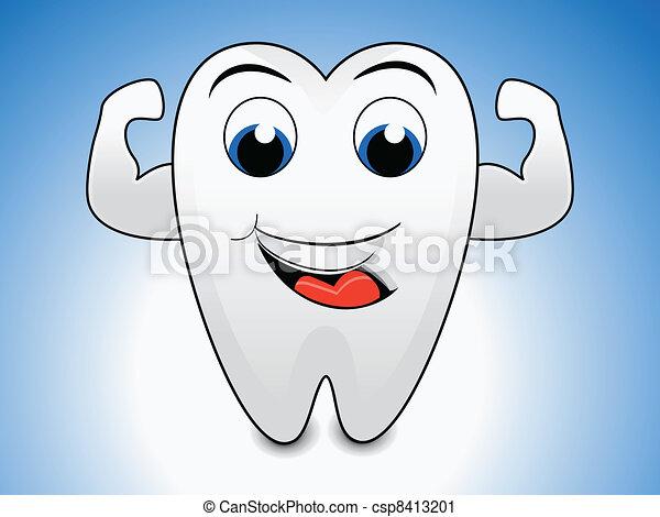 abstract tooth cartoon - csp8413201