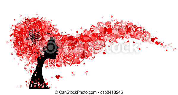 Female head with hairstyle made from tiny hearts for your design - csp8413246