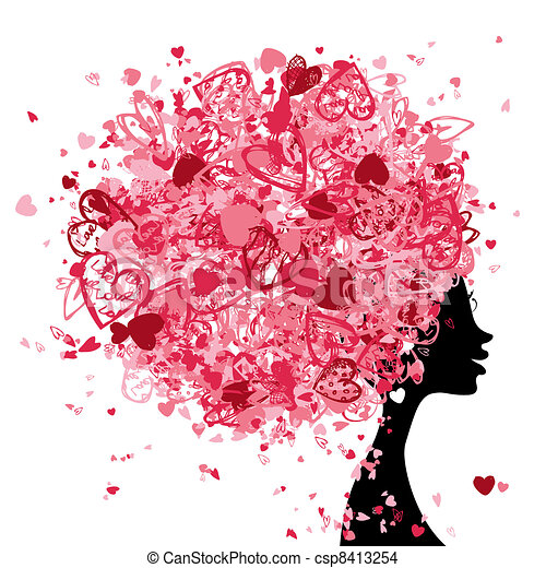 Female head with hairstyle made from tiny hearts for your design - csp8413254