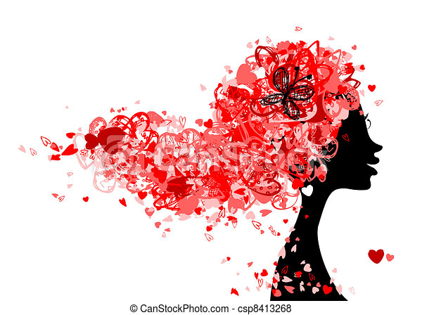 Female head with hairstyle made from tiny hearts for your design - csp8413268