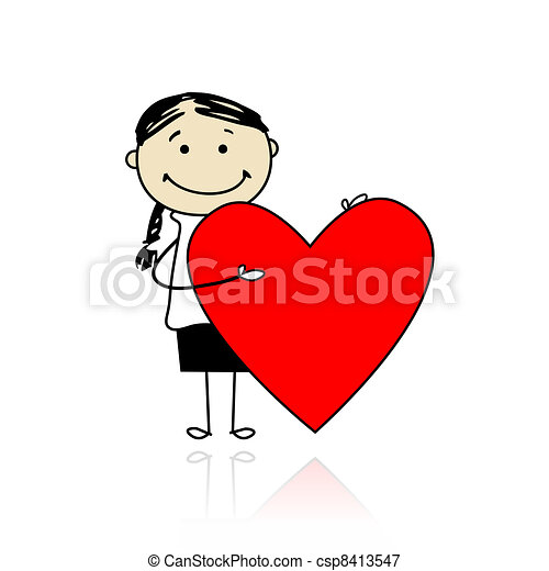 Cute girl with valentine heart, place for your text - csp8413547