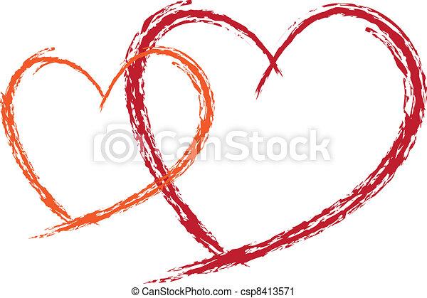 Two Valentine Red love heats  - csp8413571