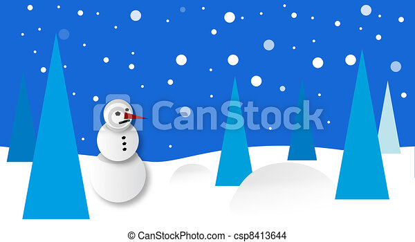Winter scenery with snowman - csp8413644
