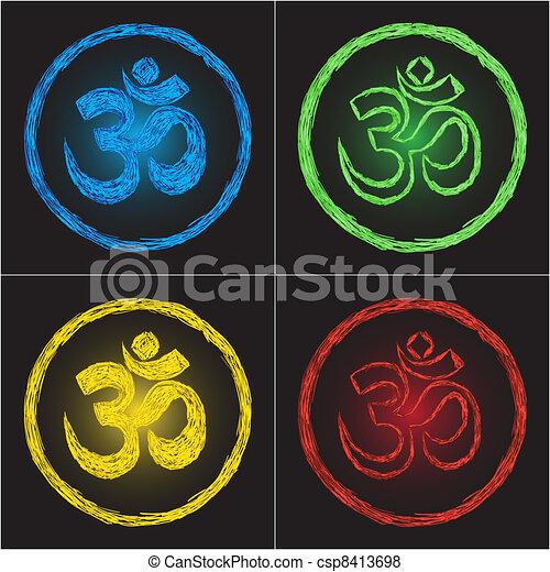 Hinduism religion golden symbol om on black background - doodle - csp8413698