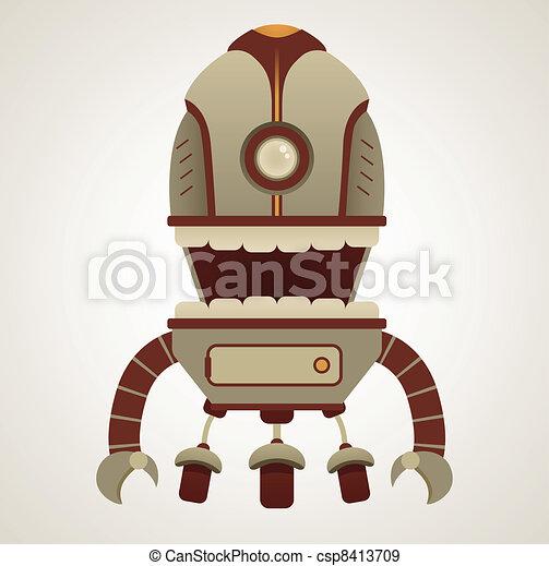 Cute Robot Logo Cute Cartoon Retro Robot