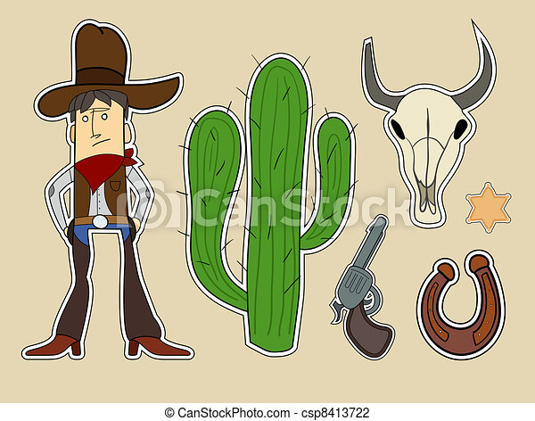 wild west cartoon elements - csp8413722
