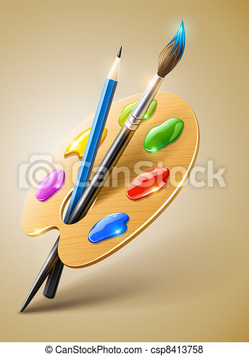 Art palette with paint brush and pencil tools for drawing - csp8413758