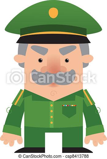 Cartoon soldier Officer - csp8413788
