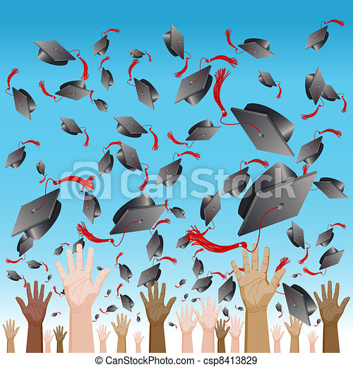 Diversity Graduation Day Cap Toss - csp8413829