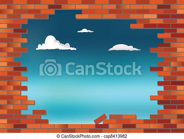 Brickwall sky - csp8413982