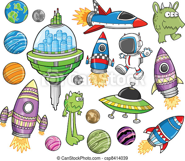 Cute Outer Space Vector Design set - csp8414039