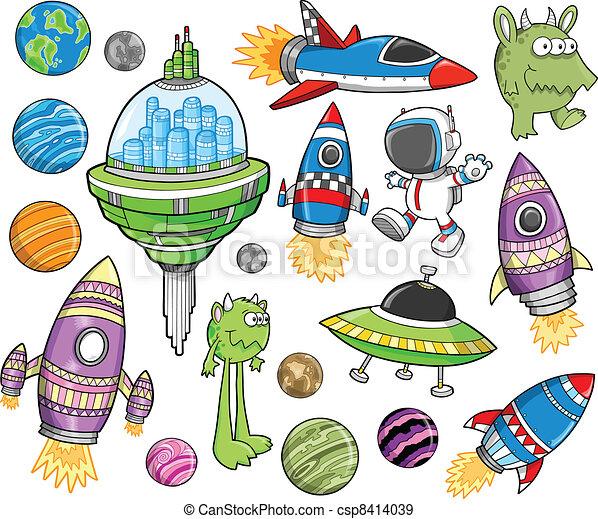 Cute Outer Space Vector Design set - csp8414039