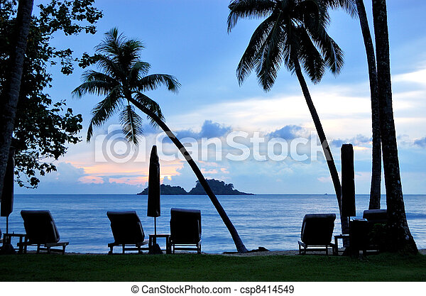 Beach during sunset with coconut palms, Koh Chang island, Thailand - csp8414549