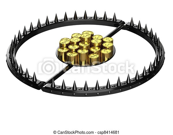 Clipart of An abstract image of credit slavery - Trap with bait in ...