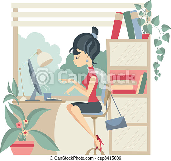 Young business woman at office - csp8415009