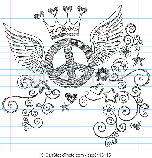 Peace Sign with Wings and Tiara Set - csp8416115