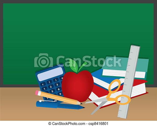 School Supplies with Chalkboard  - csp8416801