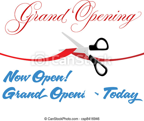 Scissors cut grand opening today ribbon - csp8416946