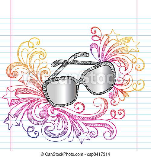 Sunglasses Sketchy Summer Doodle - csp8417314