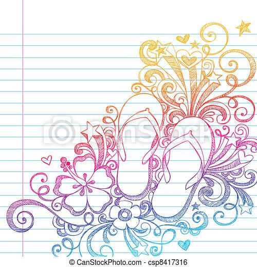Sketchy Flip Flops Beach Doodle Vec - csp8417316