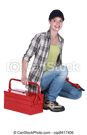 Woman with a toolbox - csp8417406