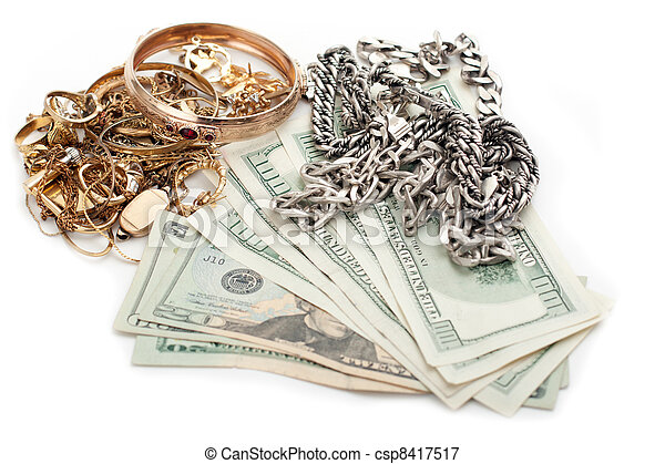 gold and silver pile scrap and cash dollar - csp8417517