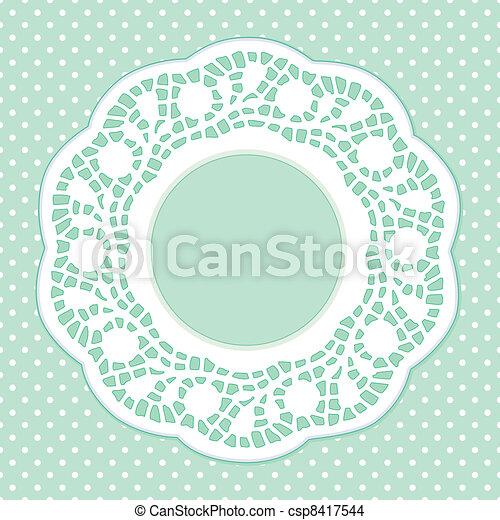 Lace Frame, Polka Dot Background - csp8417544