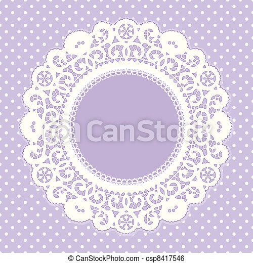 Lace Frame, Polka Dot Background - csp8417546