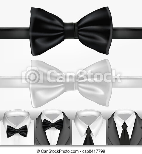Black and white tie. Vector - csp8417799