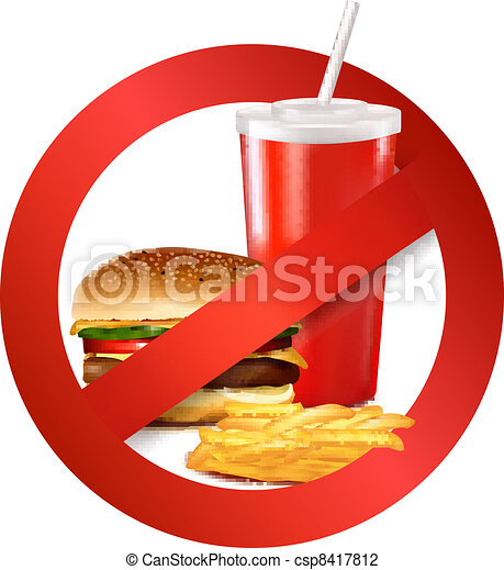 Fast food danger label. - csp8417812