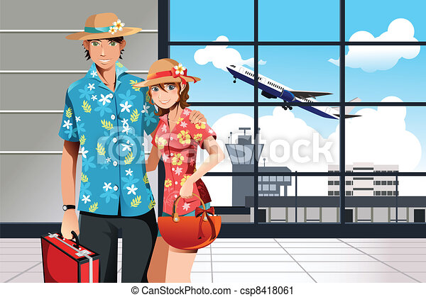 Summer traveling couple - csp8418061