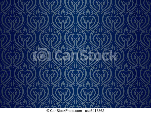 vecteur seamless papier peint mod le argent bleu banque d 39 illustrations illustrations. Black Bedroom Furniture Sets. Home Design Ideas