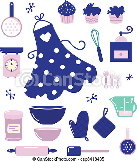 Icons or accessories for housewife isolated on white - csp8418435