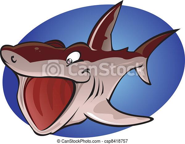 Cartoon Basking Shark - csp8418757