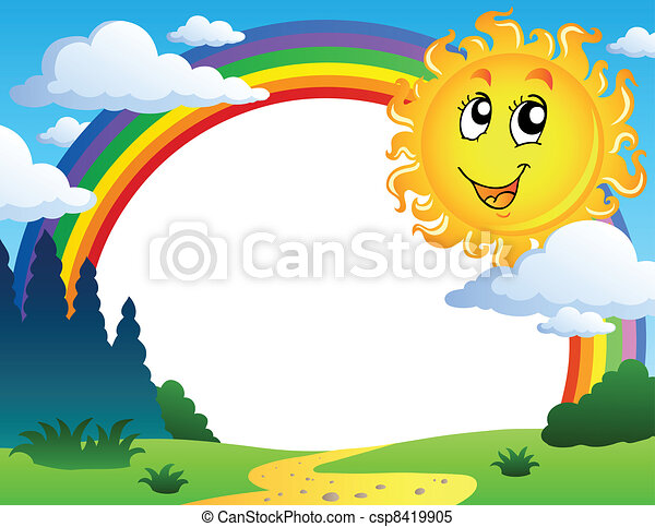 Landscape with rainbow and Sun 2 - csp8419905