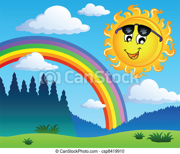 Landscape with rainbow and Sun 1 - csp8419910