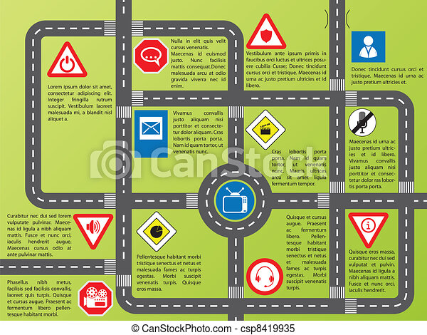 Info graphic with roads and stylish signs - csp8419935