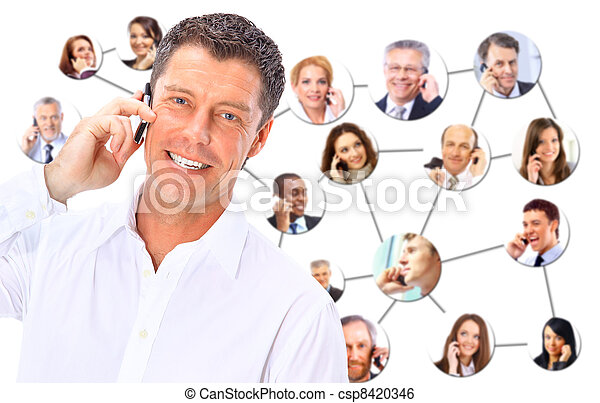 A collage of diverse business people talking on the phone - csp8420346