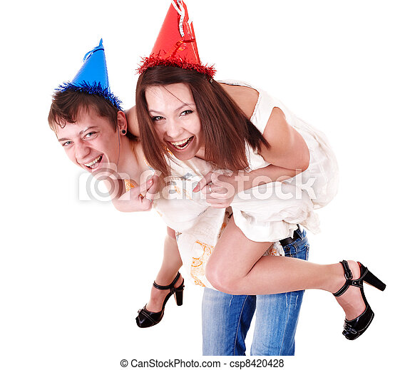 Group people in party hat.  - csp8420428